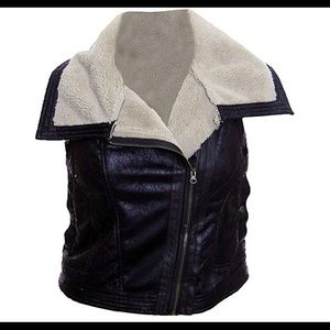bar III leather vest with faux fur lining